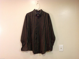 Brooks Brothers Dark Brown Green Hue Plaid Long Sleeve 100% cotton Shirt, Size L