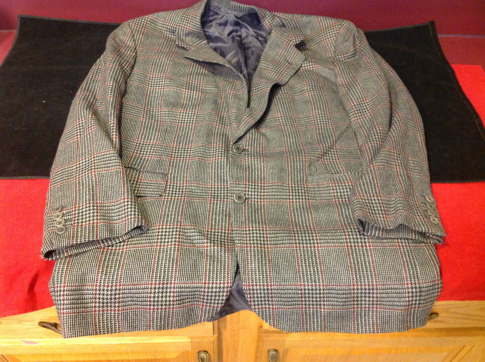 Brooks Brothers Mens Dark Gray Wine Squared Blazer No Size 24 Inch W 31 Inch L