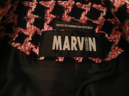 Black Pink Plaid Pattern Lined Blazer Marvin Richards 2 Front Pockets Size Small image 6