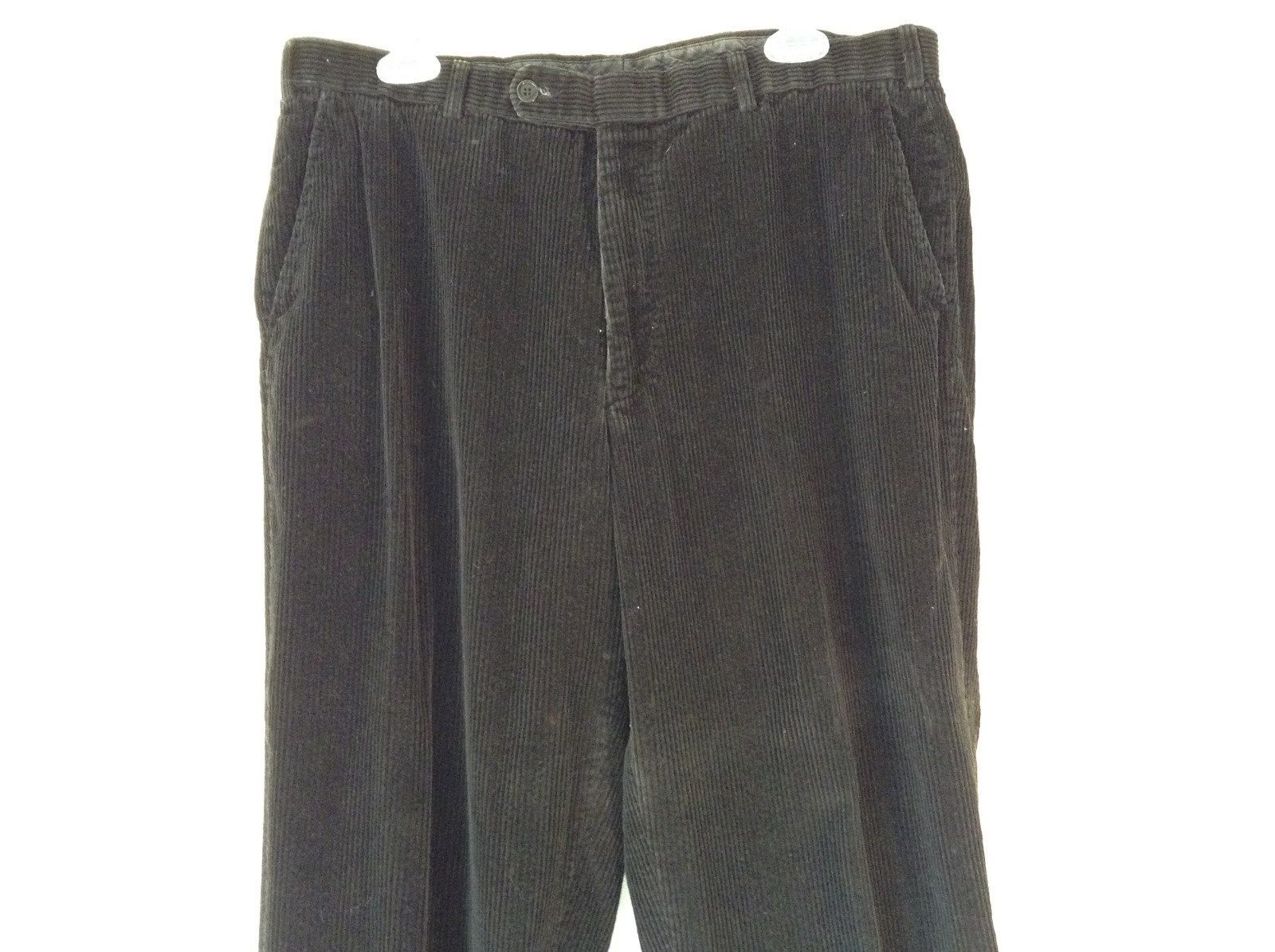 Brooks Brothers Jet Black Corduroy Pants Size 36 Made in Italy