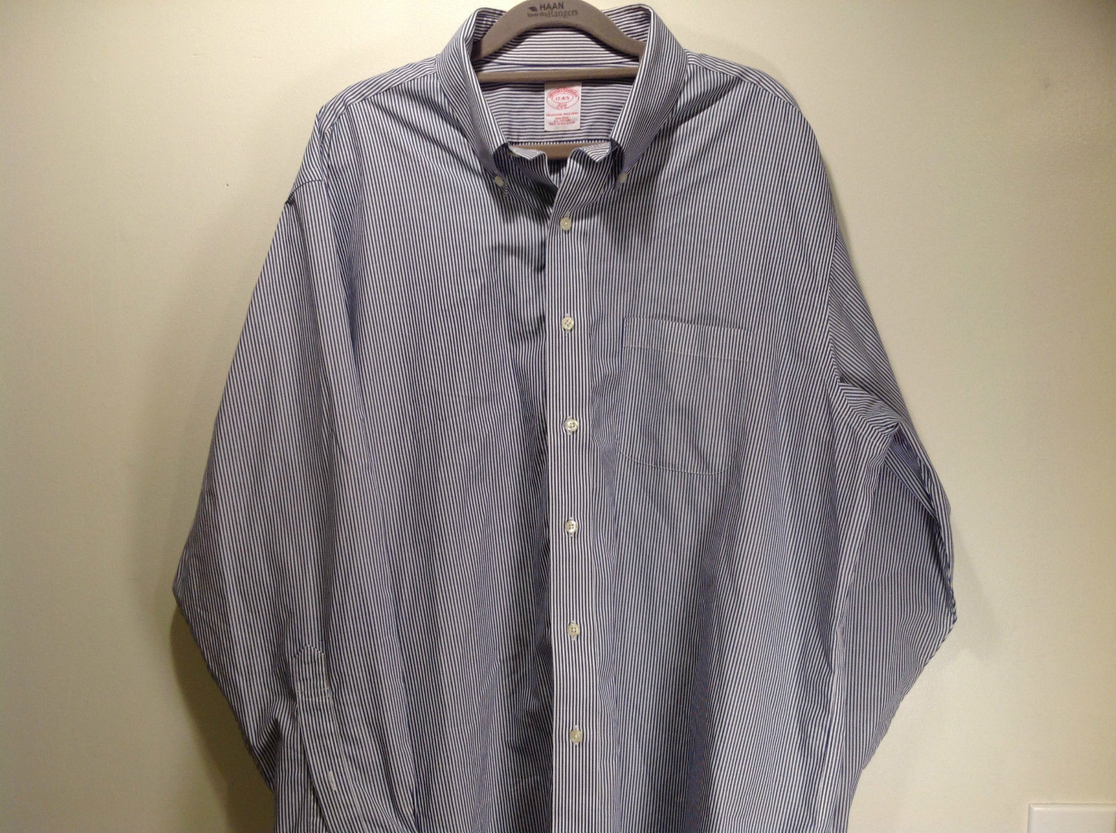 Brooks Brothers Long Sleeve Button Up Striped Dress Shirt All Cotton Size 17-4/5