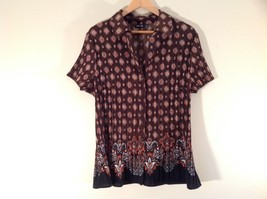 Brown Apt 9 Button Down Blouse Size 1X Excellent Condition Short Sleeves