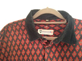 Black Red Pattern Souleiado Button Up Shirt Size 5 European Made in France image 4
