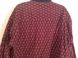Black Red Pattern Souleiado Button Up Shirt Size 5 European Made in France image 7