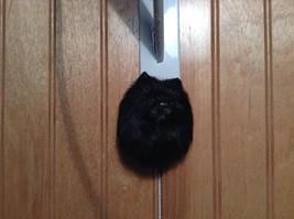 Black Pomeranian Dog Head Magnet Recycled Rabbit Hair Conversation Concepts image 2