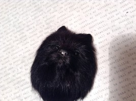 Black Pomeranian Dog Head Magnet Recycled Rabbit Hair Conversation Concepts image 3