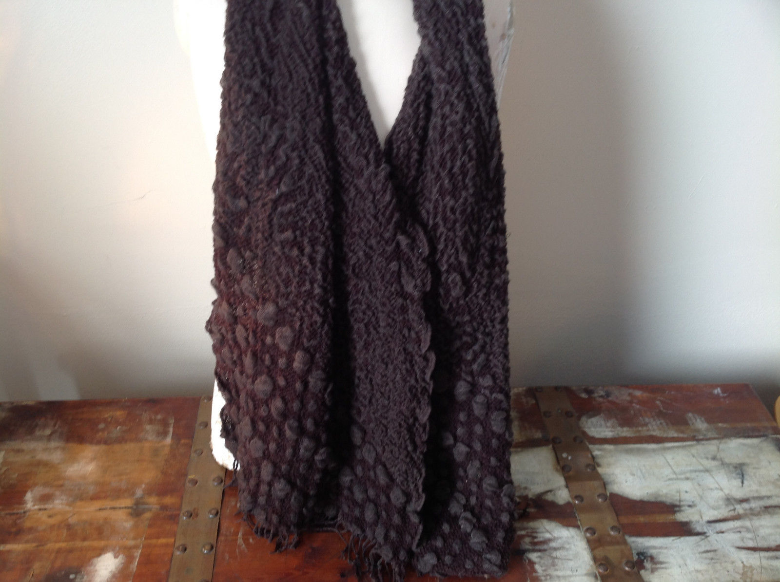 Brown Boho Style Scarf with Dots