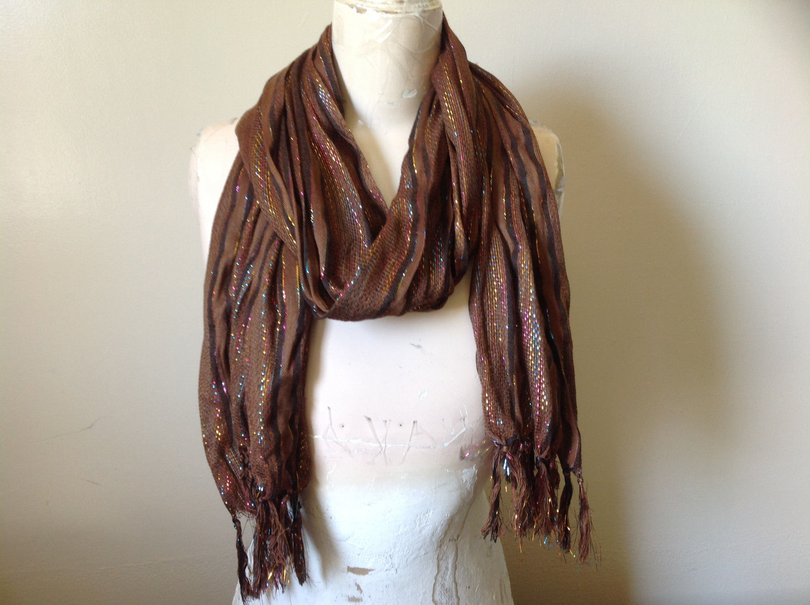 Brown Black Striped Rainbow Metallic Stripes Tasseled Fashion Scarf No Tag