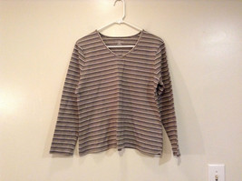 Brown Beige Black Gray Striped Croft and Barrow Long Sleeve V Neck Top Size PL