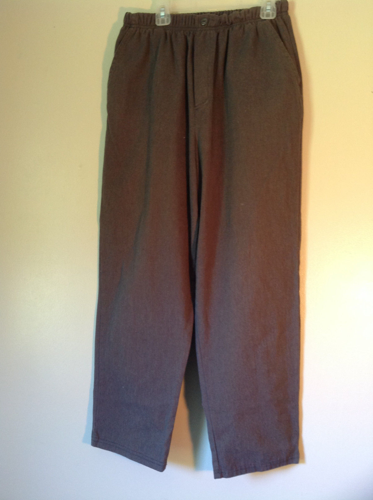 Brown Bobbie Brooks Elastic Waisted Casual Pants Fake Button and Fly Size 12P