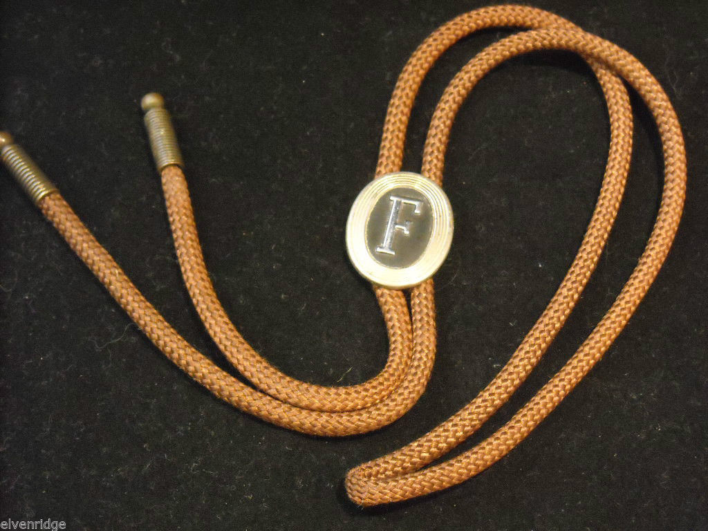 "Brown Bolo Tie with ""F"" on the clasp"