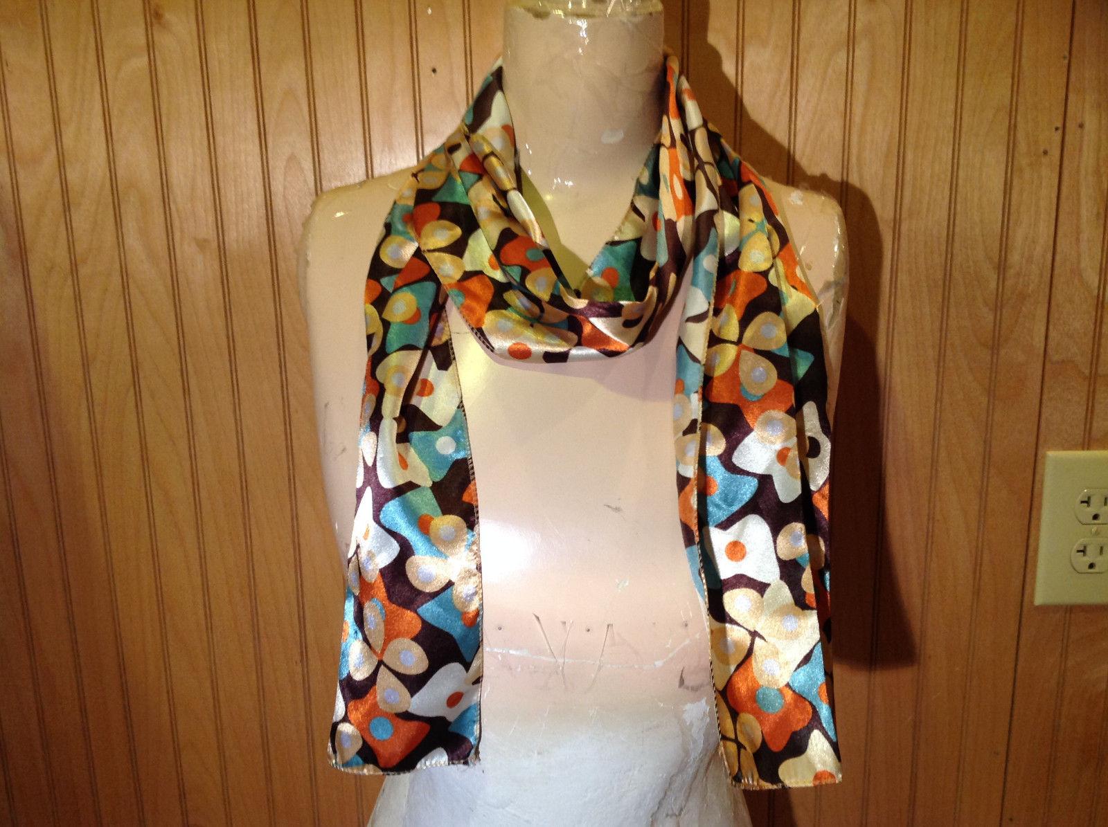 Brown Blue Orange Tan Flowered Fashion Scarf Shiny Silk Like Material NO TAG