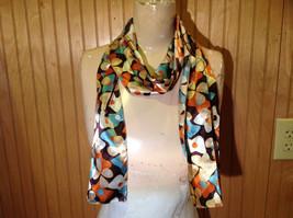 Brown Blue Orange Tan Flowered Fashion Scarf Shiny Silk Like Material NO TAG image 1