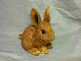 Brown Bunny Rabbit Animal Figurine - recycled rabbit fur