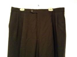 Black Pleated Front Dress Pants Stripes Down Sides  No Tags Measurements Below image 2