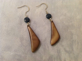 "Brown Beige Tan Dangle Earrings w Blue bead, 2"" long  Tagua fair trade encanto"