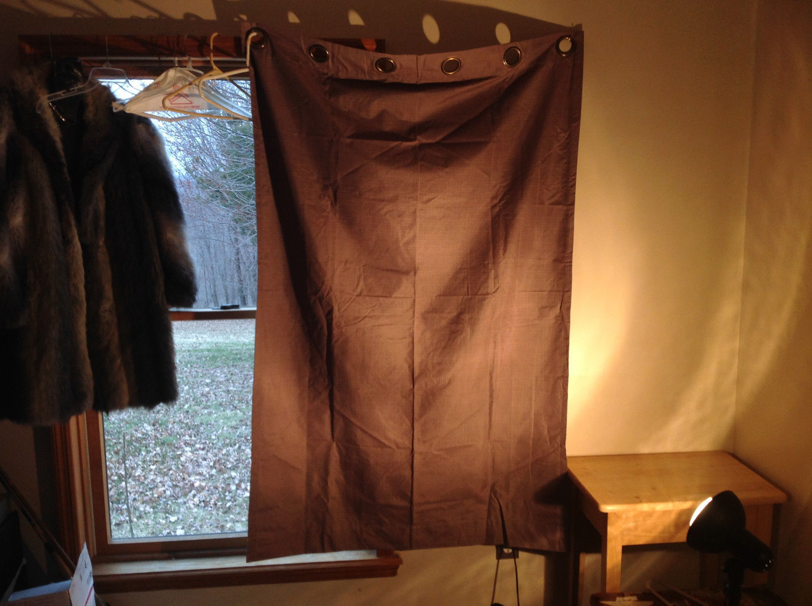 Brown Curtain Metal Rings for Hanging on Curtain Rod  64 Inches by 42 Inches