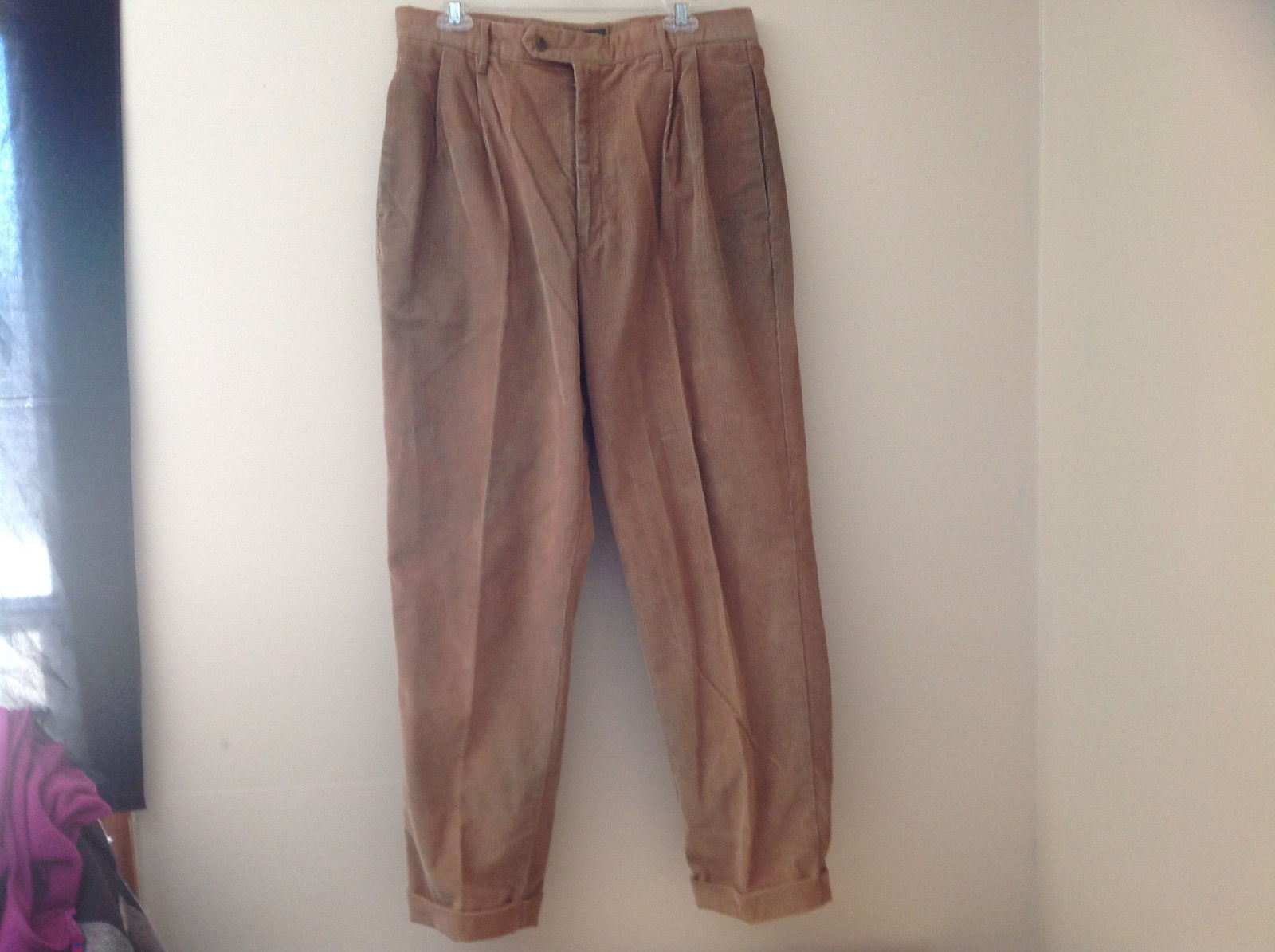 Brown Corduroy Pleated Dockers Dress Pants Cuffed Pant Legs Size 34 by 31