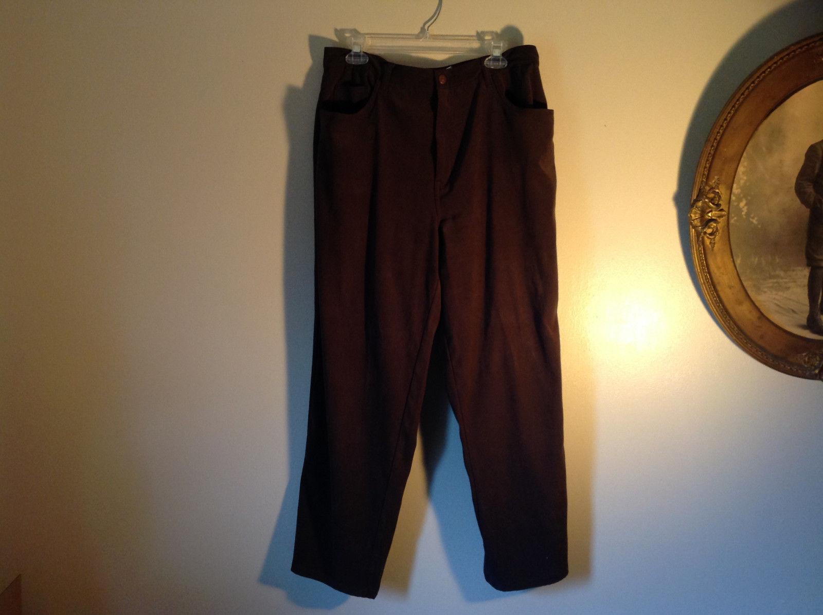 Brown Five Pocket Work Pants by Bill Blass Zipper Button Closure Size 14