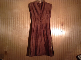 Brown Dress with Gold Green Trim on Collar and Sides hand made costume for stage