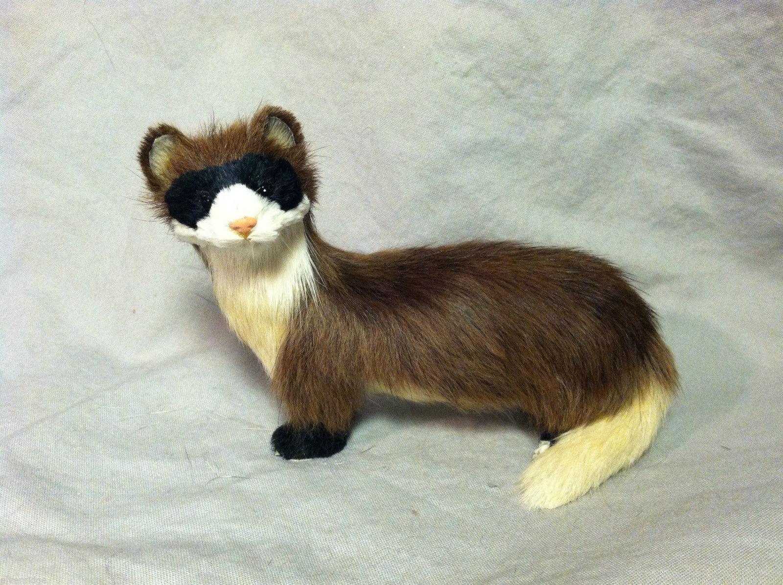 Brown Ferret with white under belly Animal Figurine - recycled rabbit fur
