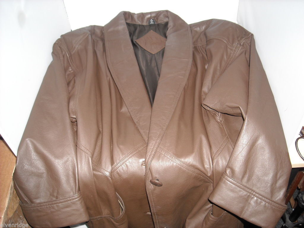 Brown Leather Dress Coat