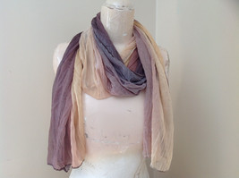 Brown Golden Watercolor Scrunched Style Fashion Scarf
