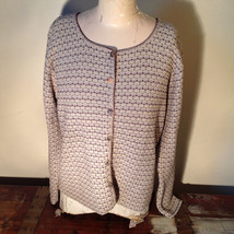 Brown Green Tan Beige Reba Rose Button Down Long Sleeve Sweater Size Medium