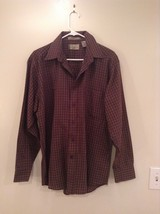 Brown Navy Plaid Button Up Long Sleeve Shirt Bill Blass Size Large