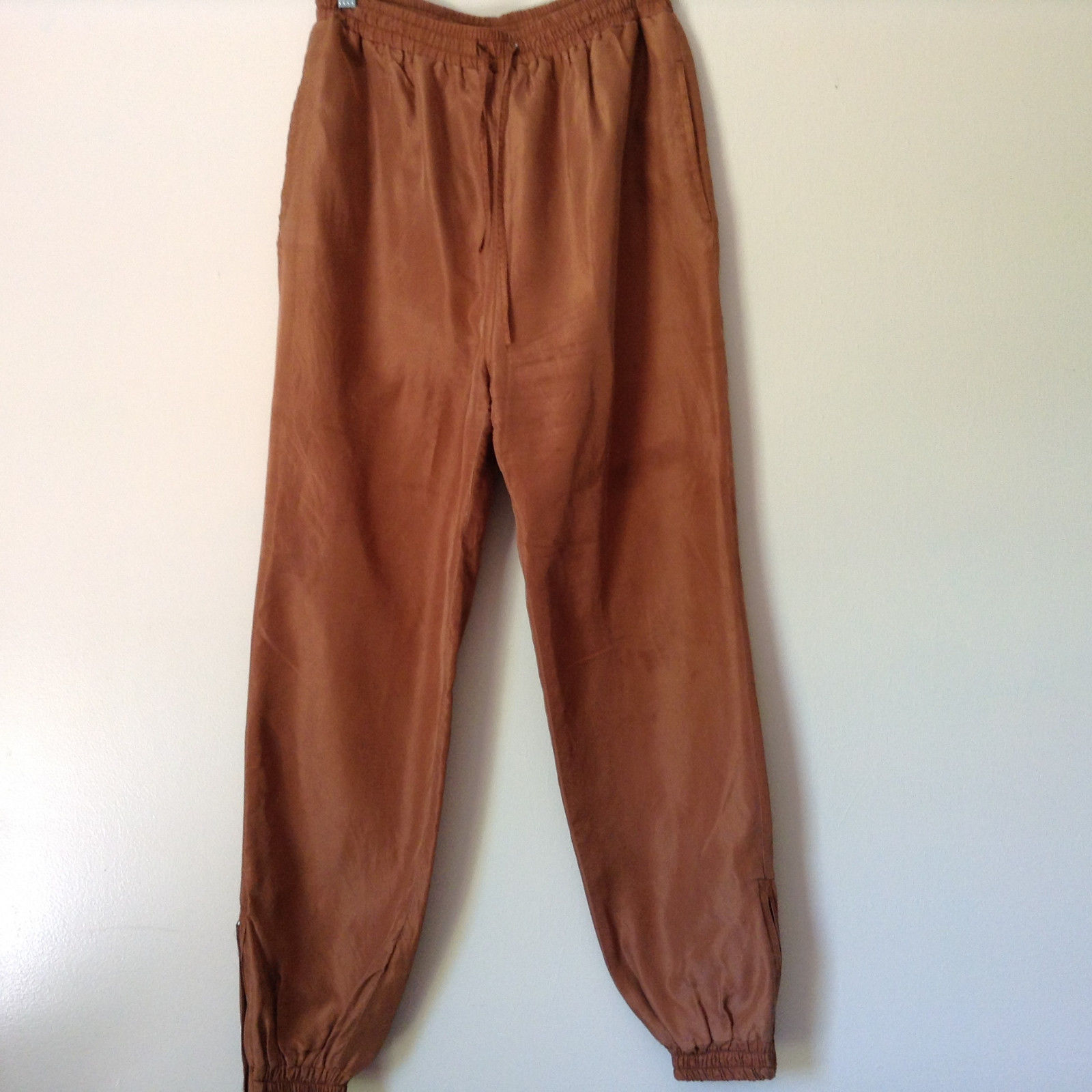 Brown Lined Pants Shell and Lining is 100 Percent Silk Size Small