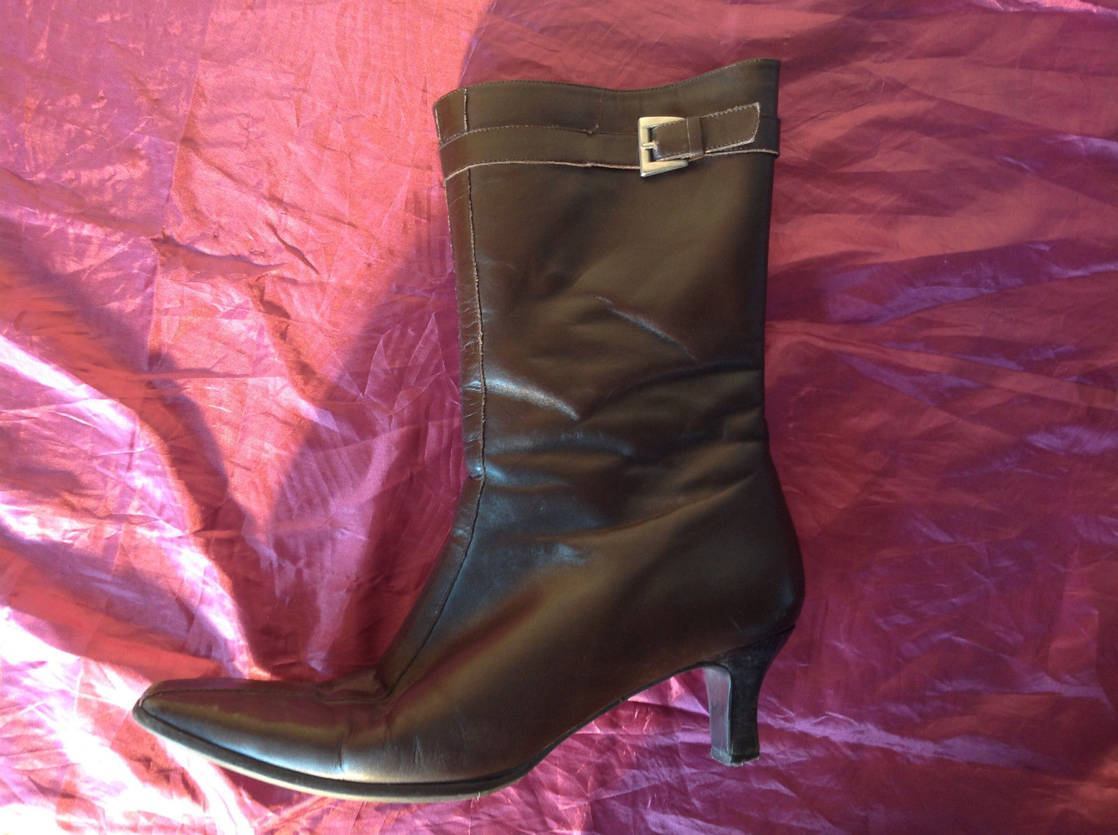 Brown Leather Boots Square Toe Curved Heel Zipper Inner Side Size 10N made Spain