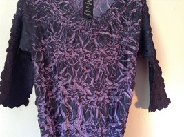 Black Purple Origami Magic Scarf Top One Size Fits All Stretches Tag Attached image 5
