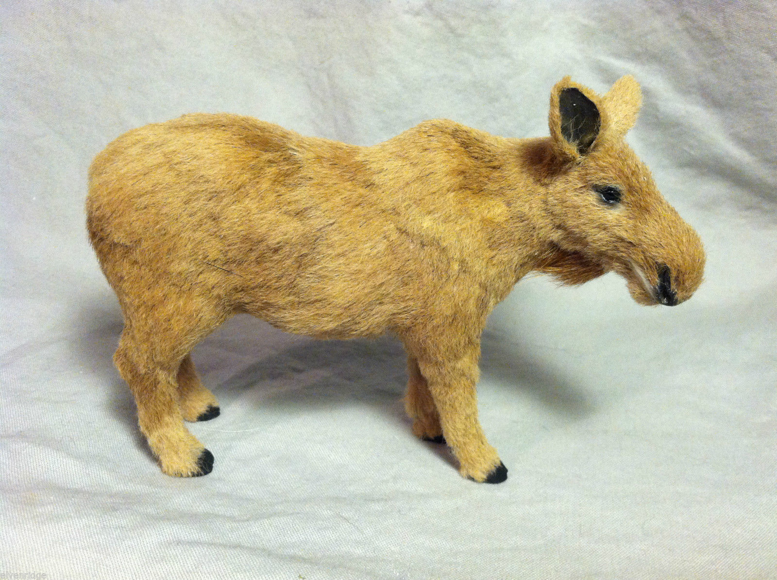 Brown Moose Cow Animal Figurine - recycled rabbit fur