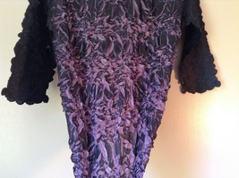 Black Purple Origami Magic Scarf Top One Size Fits All Stretches Tag Attached image 7