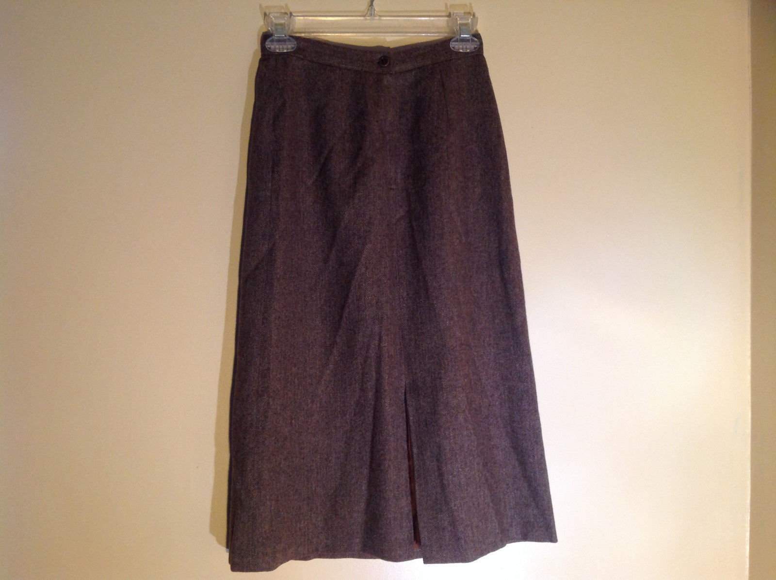 Brown Herringbone Calf Length Skirt Zipper and Button Closure Pockets Size 5-6