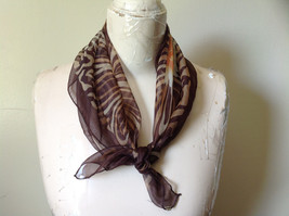 Brown Orange Big Flowered Square Fashion Scarf Sheer Light Weight NO TAGS