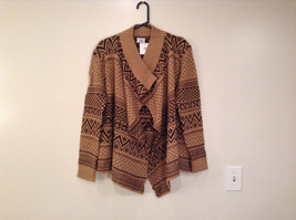 Brown Norwegian Style Long Sleeve Cardigan Sweater Wrap New in Package image 1