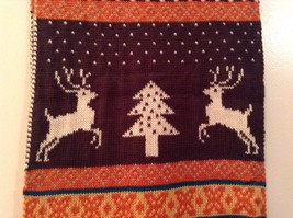 Brown Orange Dark Red White Striped Deer Reindeer Tree Knit Scarf w Pom Poms