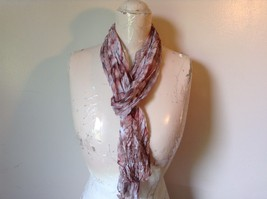 Brown Pink and White Sheer Stretchy Material Scarf 10 Inches by 70 Inches