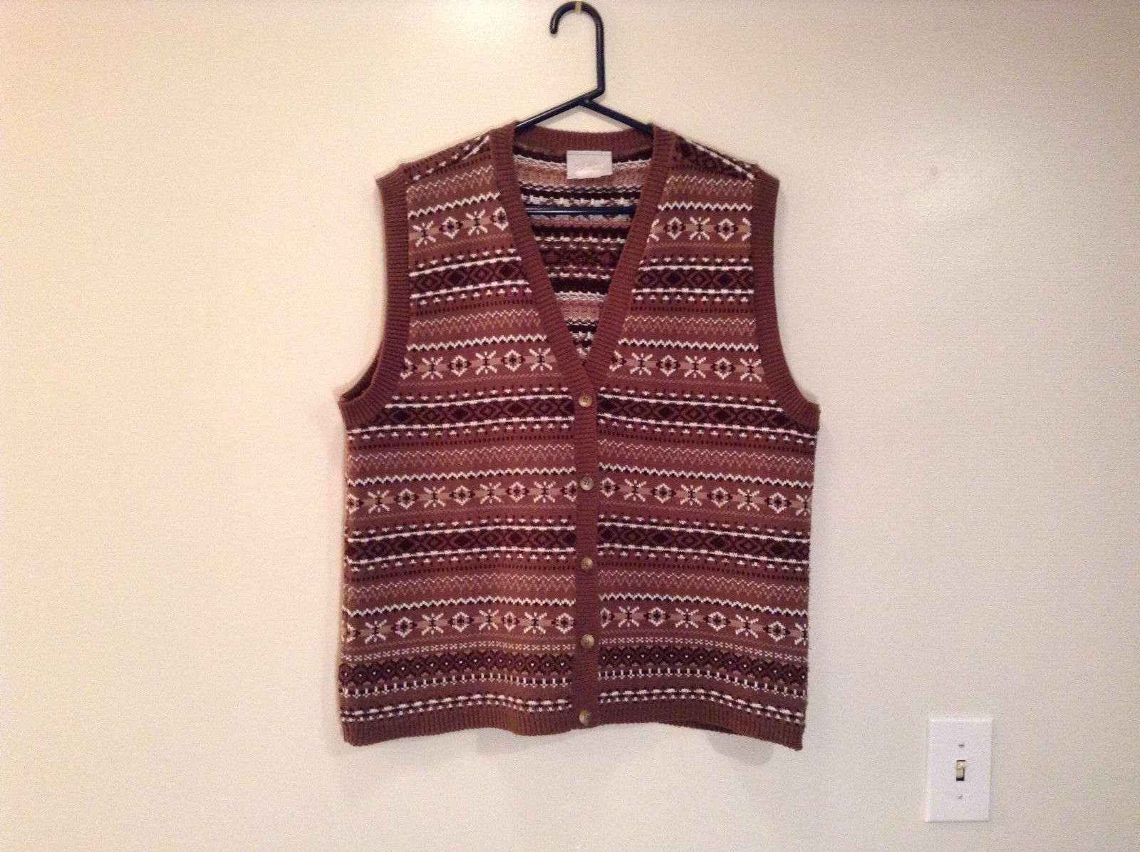 Brown Sand White Knitted V Neck Buttoned Vest by Blair Size Large