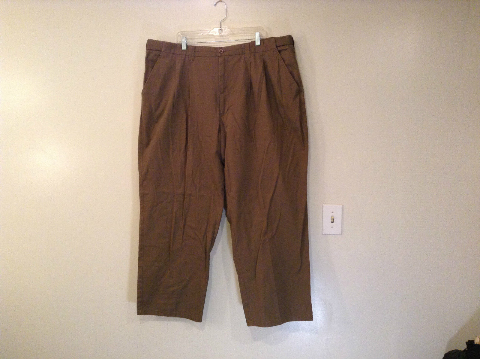Brown Pleated Front Pants Elastic Inserts on Waist for Adjusting No Size Tag