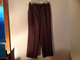 Brown Pin Checkered Herringbone Pattern Dress Pants by Larry Levine Size 10P