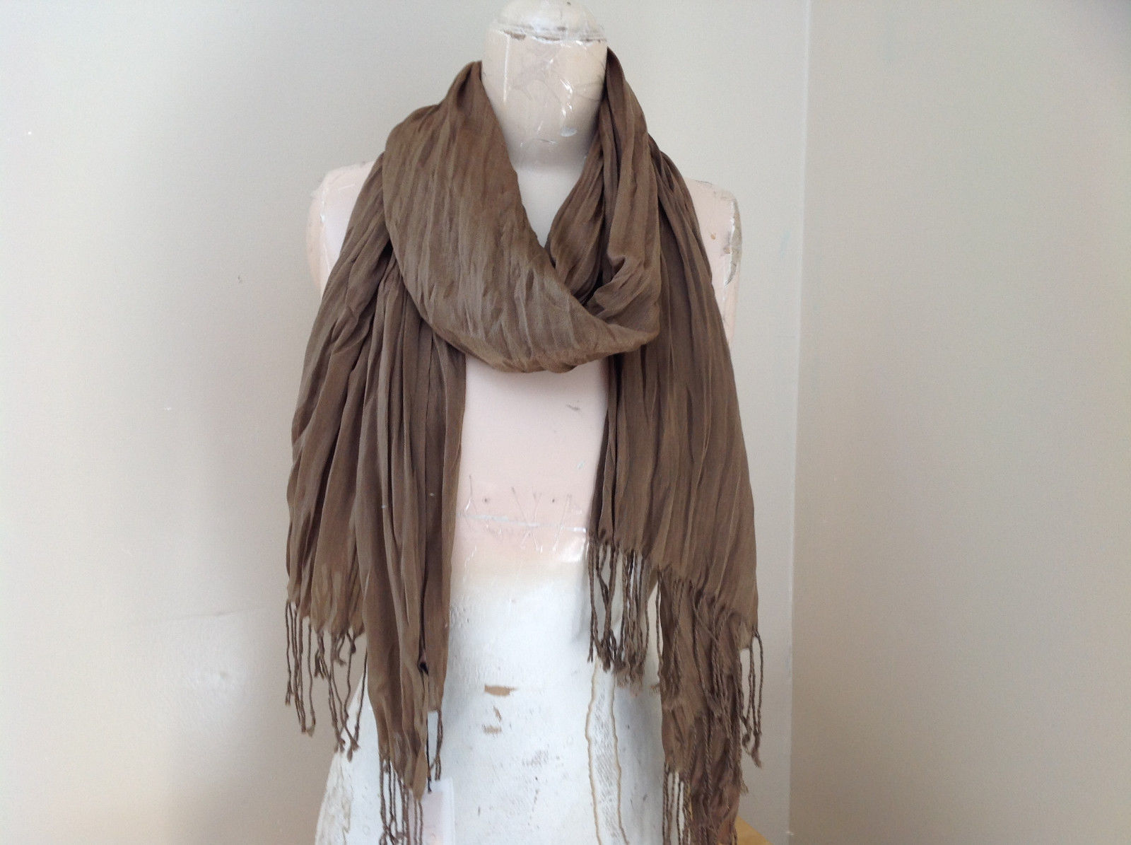 Brown Scrunch Style Silk Cotton Scarf with Tassels TAG ATTACHED by Look