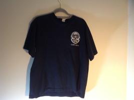 Black Short Sleeve Graphic T-shirt with White Emblem on Front Chest Size Medium image 2