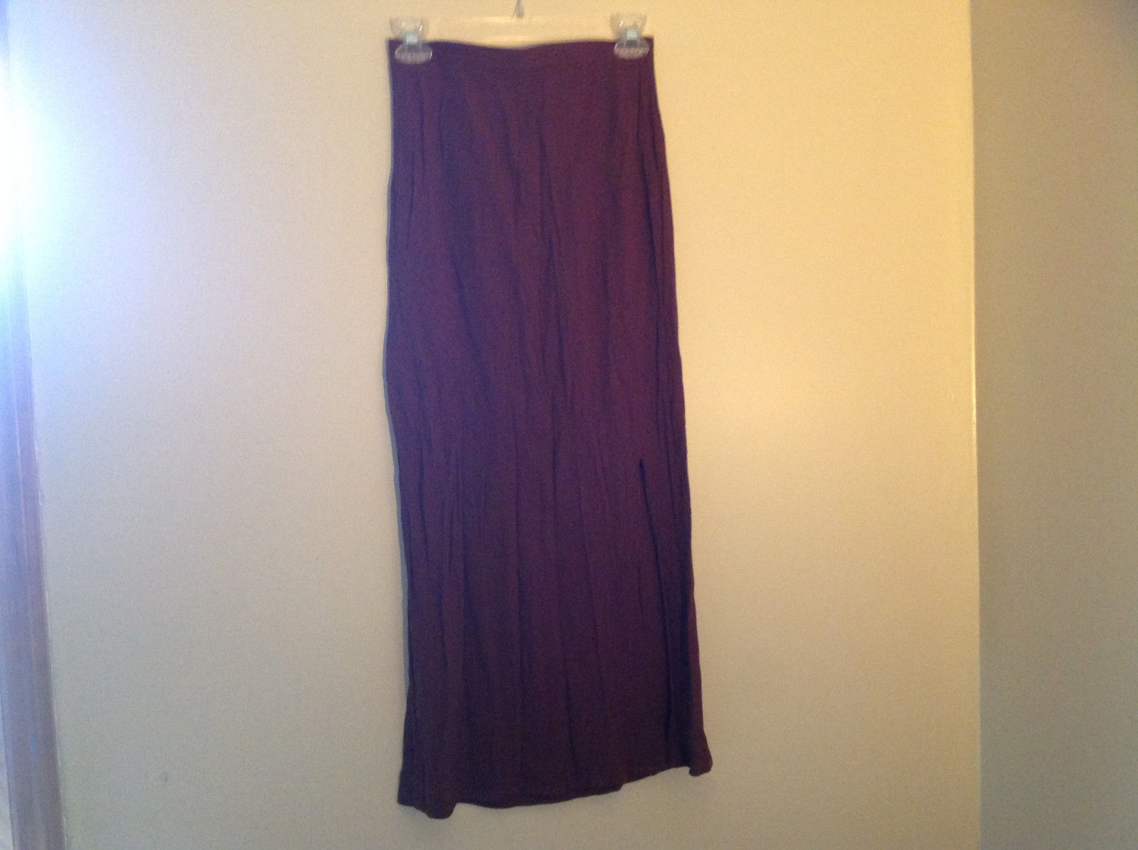 Brown Scrunched Style Maxi Skirt Cute Slit up Side of Front NY and Co Size S