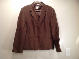 Brown Size 16 Talbots 100 Percent Linen Blazer Two Button Closure Two Pockets