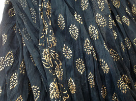 Black Scrunched Indian Style Real Gold Stamped Embossed Scarf Hand Printed image 4