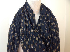 Black Scrunched Indian Style Real Gold Stamped Embossed Scarf Hand Printed image 3
