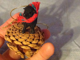 Black Sheep Ornament on Real Red Pine Cone with Real Fabric for Scarf on Neck image 3