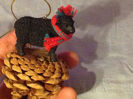 Black Sheep Ornament on Real Red Pine Cone with Real Fabric for Scarf on Neck image 2